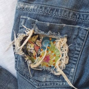 MARLOW oriental embroidery pockets bootcut